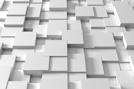 Abstract white squares form a future space. 3d rendering - Illustration Stok Fotoğraf - 124270606