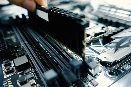 Computer moederbord en processor. Digitale wetenschap en technologie. - Afbeelding