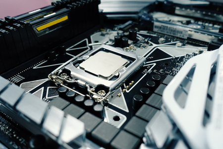 Computer motherboard and processor. Digital science and technology. - Image