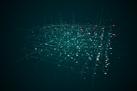Digital and technological grid space, with data stream. connected points and lines form a cube.3d rendering - Illustration