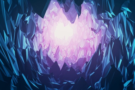 Diamonds or gems mountain and cave with blue and purple color. Cartoon crystal diamond dream world. 3d rendering - Illustration