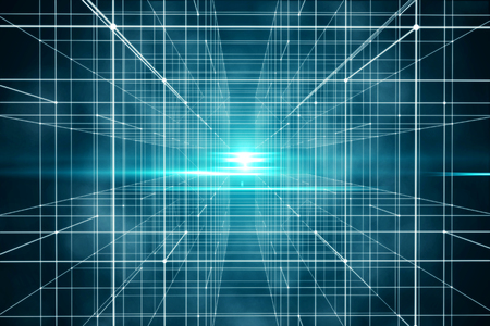 Digital and technological grid space with point and line. Future scene used for background. 3d rendering - Illustration