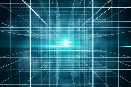 Spazio griglia digitale e tecnologico con punto e linea. Scena futura utilizzata per lo sfondo. Rendering 3D - Illustrazione Archivio Fotografico