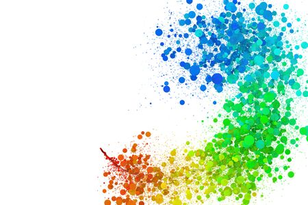 Colorful points in rainbow color form wonderful motion pattern and graphic. Isolated in white background. LGBT and LGBTQ concept. Фото со стока