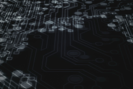 Bright points and lines form a circuit board in black background. Micro digital board. Science and technology. 3d rendering - illustration.