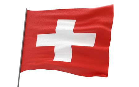 Illustration of a waving flag of Switzerland. 3d rendering. Stock fotó