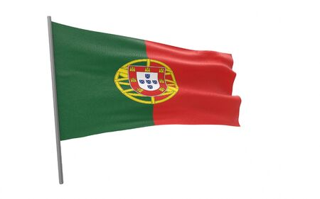 Illustration of a waving flag of Portugal. 3d rendering.