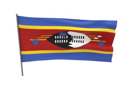 Illustration of a waving flag of Swaziland. 3d rendering.