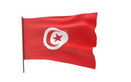 Illustration of a waving flag of Tunisia. 3d rendering. Stock fotó