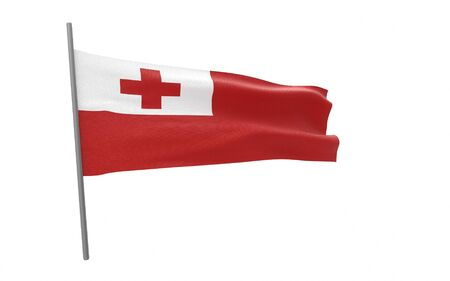 Illustration of a waving flag of Tonga. 3d rendering.