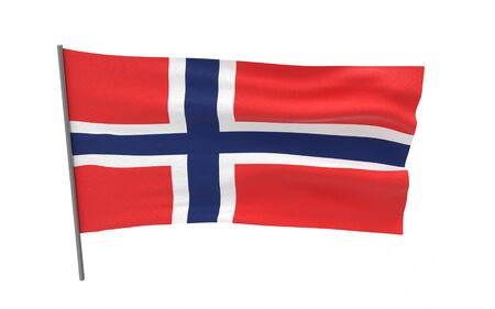 Illustration of a waving flag of Norway. 3d rendering. Stock fotó