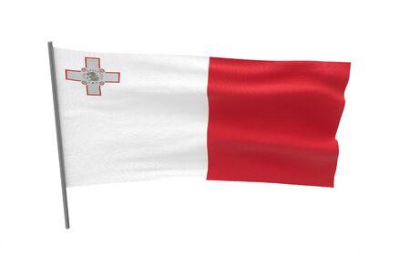 Illustration of a waving flag of Malta. 3d rendering.