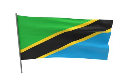 Illustration of a waving flag of Tanzania. 3d rendering.