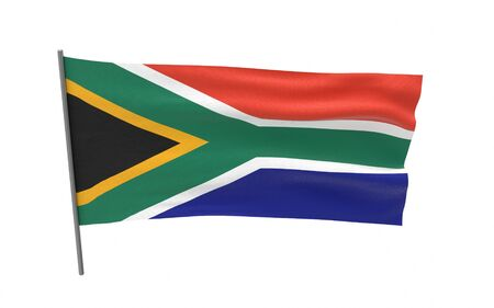 Illustration of a waving flag of South Africa. 3d rendering.