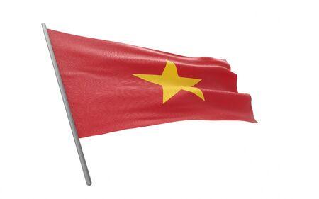 Illustration of a waving flag of Vietnam. 3d rendering.