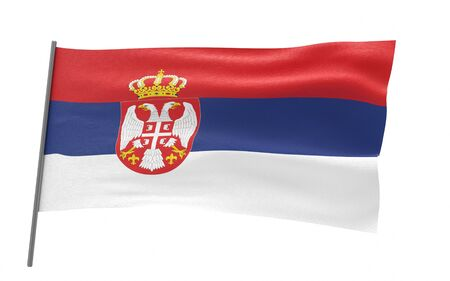 Illustration of a waving flag of Serbia. 3d rendering.