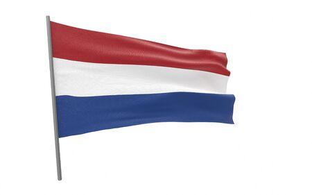 Illustration of a waving flag of Netherlands.The Kingdom of the Netherlands. 3d rendering.