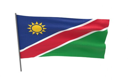 Illustration of a waving flag of Namibia. 3d rendering. Stock fotó