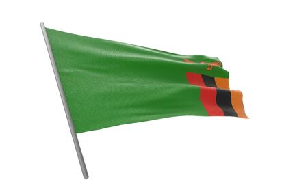 Illustration of a waving flag of Zambia. 3d rendering.