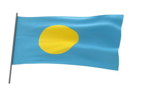 Illustration of a waving flag of Palau. 3d rendering.
