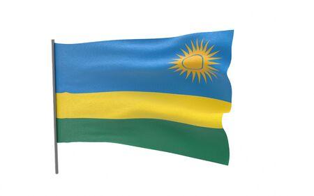 Illustration of a waving flag of Rwanda. 3d rendering.
