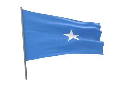 Illustration of a waving flag of Somalia. 3d rendering.