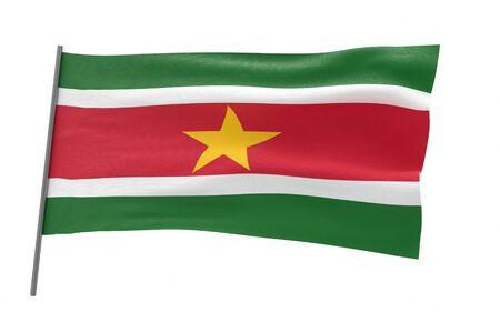 Illustration of a waving flag of Suriname. 3d rendering.