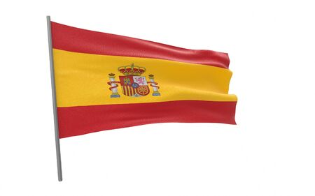 Illustration of a waving flag of Spain. 3d rendering.