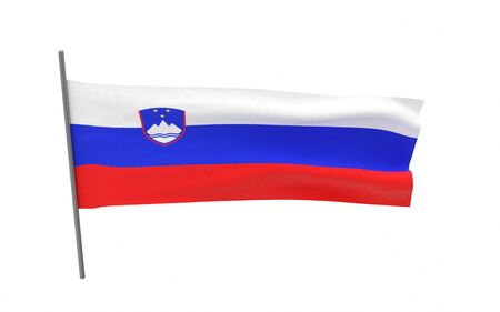Illustration of a waving flag of Slovenia. 3d rendering.
