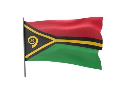 Illustration of a waving flag of Vanuatu. 3d rendering. Stock fotó