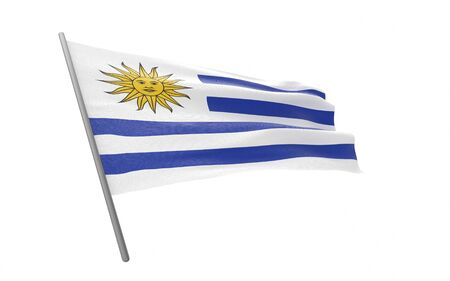 Illustration of a waving flag of Uruguay. 3d rendering.