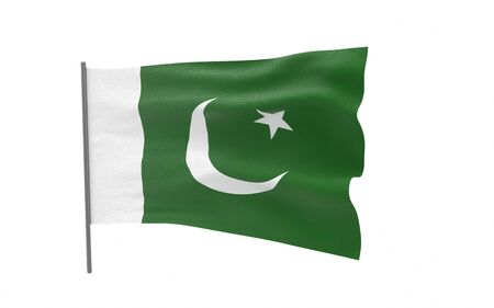 Illustration of a waving flag of Pakistan. 3d rendering.