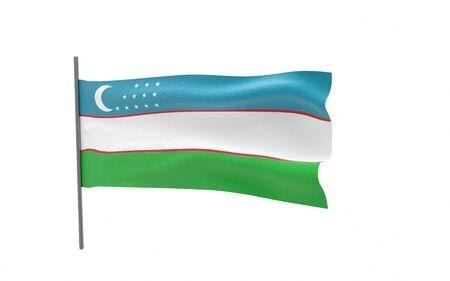Illustration of a waving flag of Uzbekistan. 3d rendering. Stock fotó