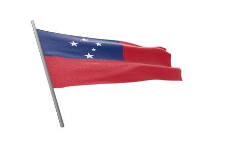 Illustration of a waving flag of Samoa. 3d rendering. Stock fotó