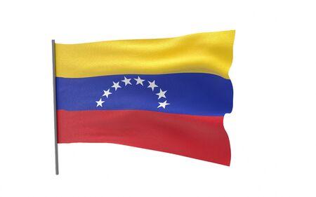 Illustration of a waving flag of Venezuela. 3d rendering.