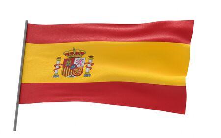 Illustration of a waving flag of Spain. 3d rendering.