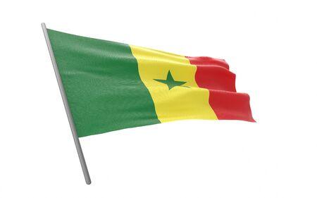 Illustration of a waving flag of Senegal. 3d rendering.