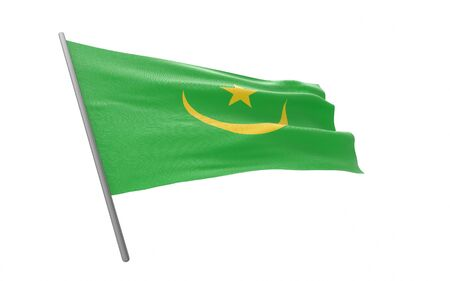 Illustration of a waving flag of Mauritania. 3d rendering.