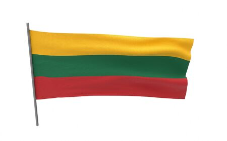 Illustration of a waving flag of Lithuania. 3d rendering.