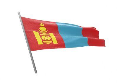 Illustration of a waving flag of Mongolia. 3d rendering. Stock fotó