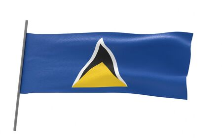 Illustration of a waving flag of Saint Lucia. 3d rendering.
