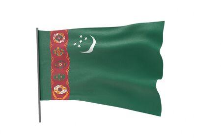 Illustration of a waving flag of Turkmenistan. 3d rendering. Stock fotó