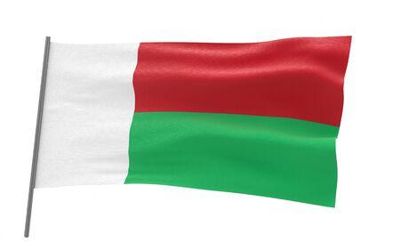 Illustration of a waving flag of Madagascar. 3d rendering. Stock fotó