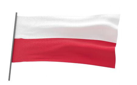 Illustration of a waving flag of Poland. 3d rendering.