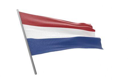 Illustration of a waving flag of Netherlands.The Kingdom of the Netherlands. 3d rendering. Banco de Imagens - 126465318