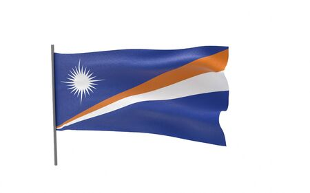 Illustration of a waving flag of Marshall Islands. 3d rendering.
