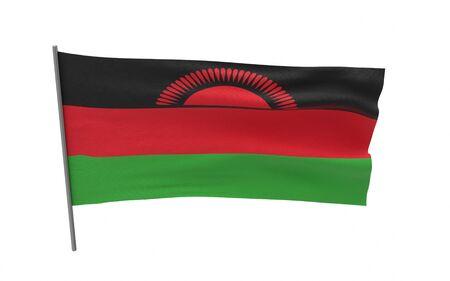Illustration of a waving flag of Malawi. 3d rendering. Stock fotó