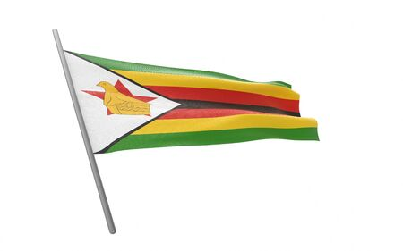 Illustration of a waving flag of Zimbabwe. 3d rendering. Stock fotó