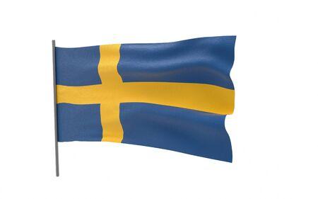Illustration of a waving flag of Sweden. 3d rendering.