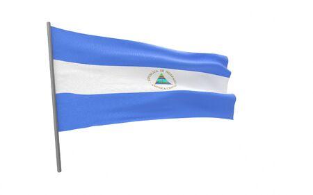 Illustration of a waving flag of Nicaragua. 3d rendering.